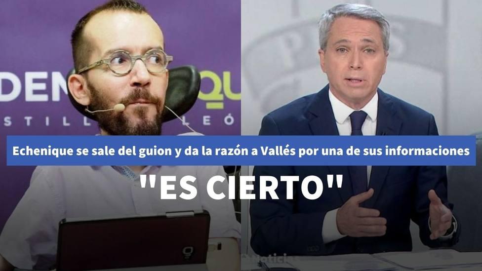 Echenique se sale del guion y da la razón a Vicente Vallés por una de sus informaciones: Es cierto