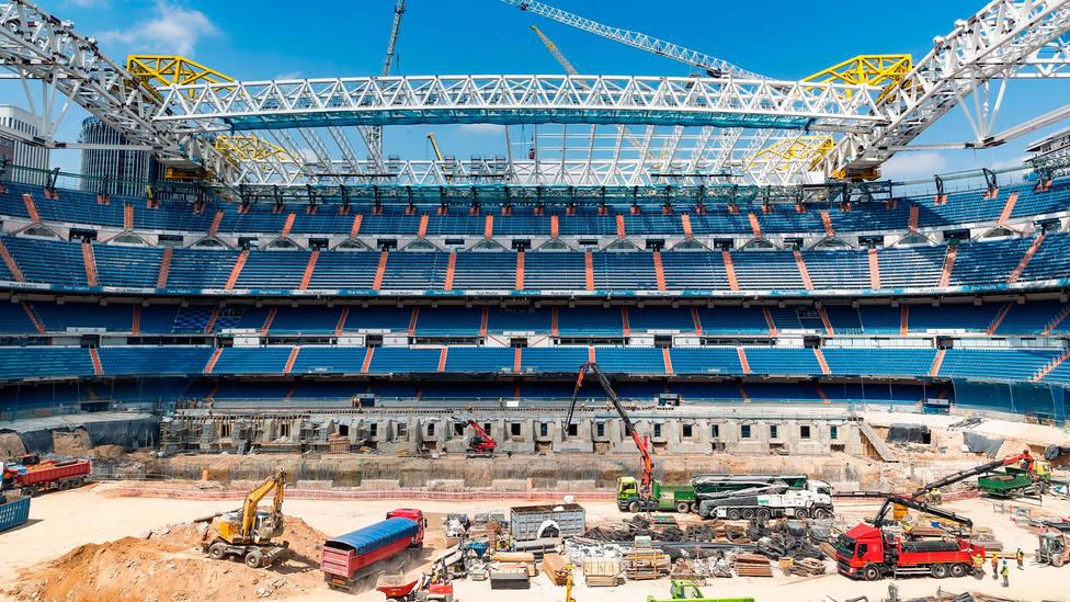 Obras en el interior del estadio Santiago Bernabéu, según una imagen difundida por el Real Madrid