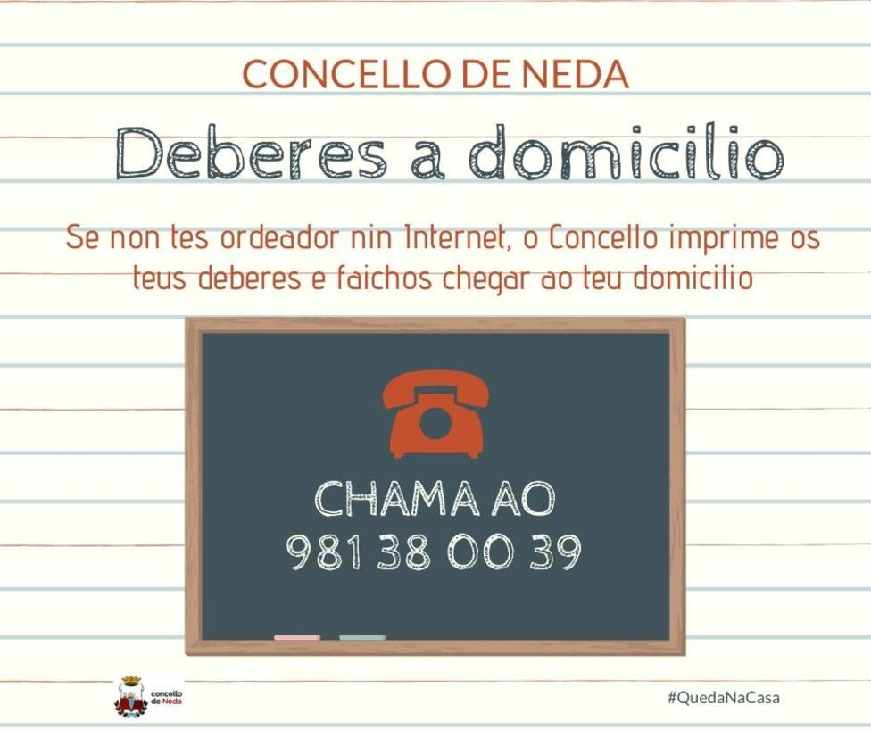 Cartel con la iniciativa para los estudiantes puesta en marcha desde el Ayuntamiento - FOTO: Concello de Neda