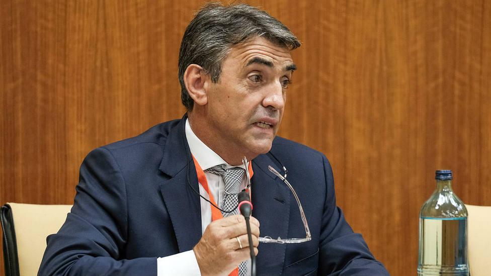 Victorino Martín durante su intervención este martes en el Parlamento de Andalucía