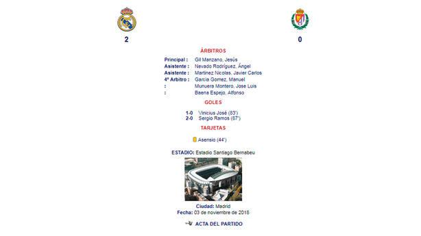 Imagen del acta arbitral del Real Madrid - Real Valladolid