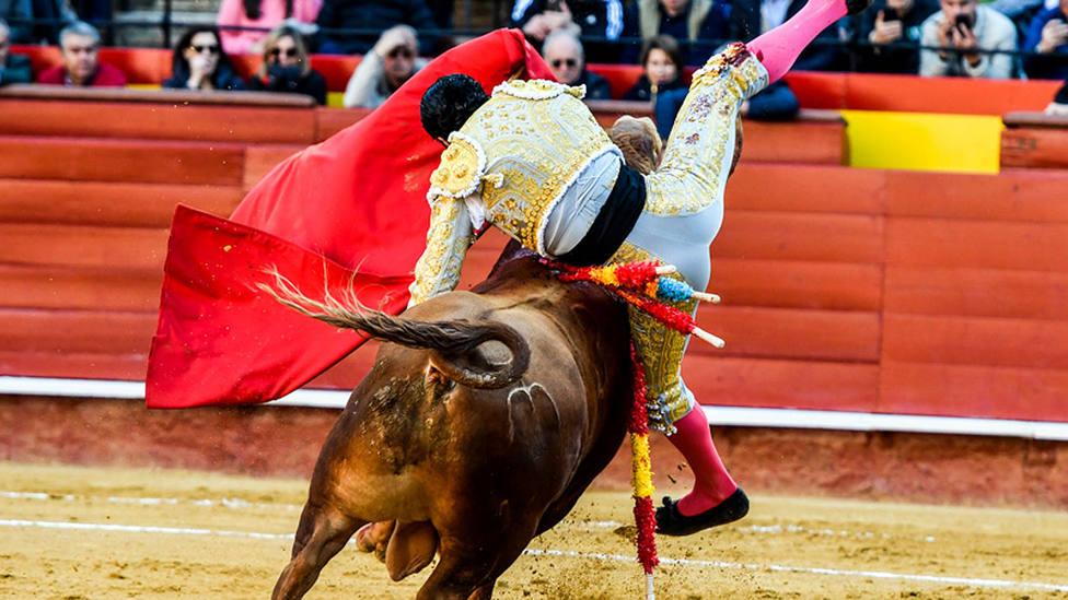 Momento de la cornada sufrida por Diego San Román en Valencia