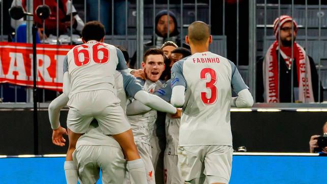 El Liverpool celebra uno de los tres goles marcados en el Allianz Arena. CORDONPRESS