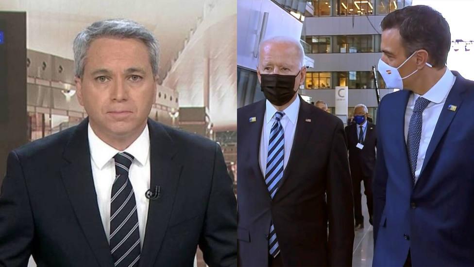 Vicente Vallés deja seco a Sánchez al dar un detalle sobre su encuentro con Biden: Por cierto...