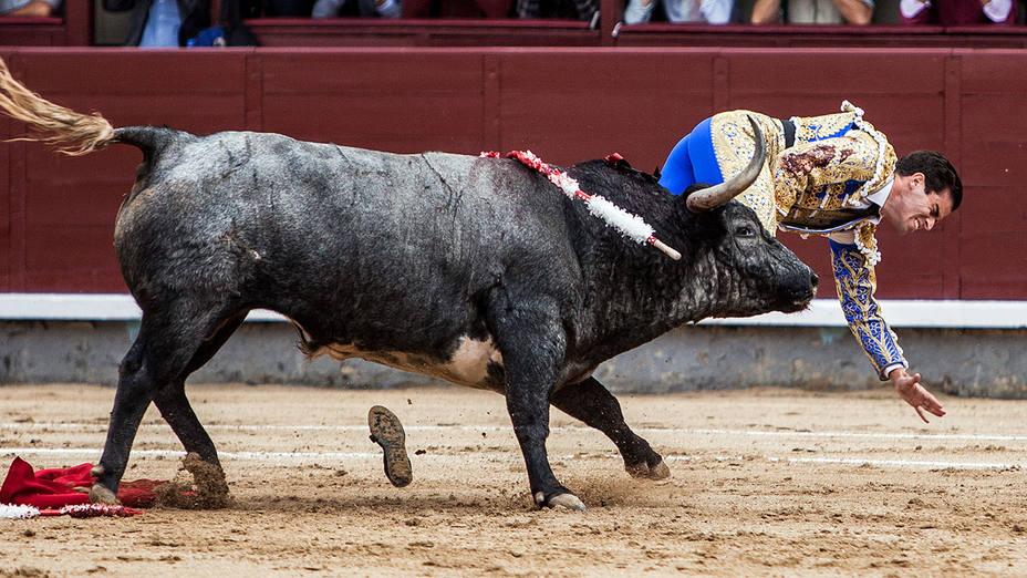 Momento de la grave cornada sufrida por Rubén Pinar en Las Ventas