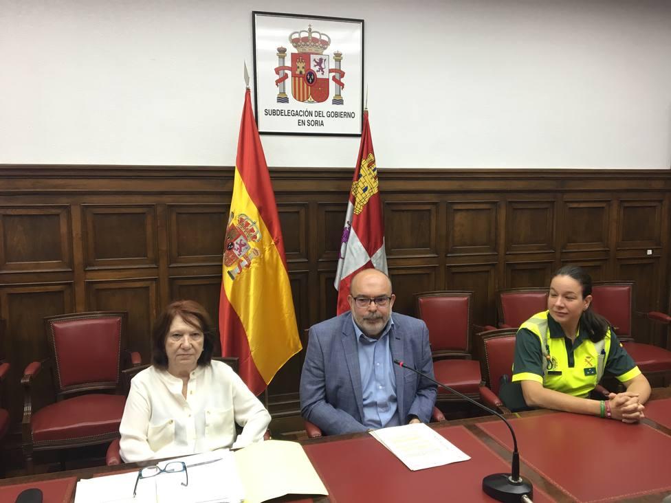 El subdelegado del Gobierno en Soria, Miguel Latorre, durante la rueda de prensa de hoy