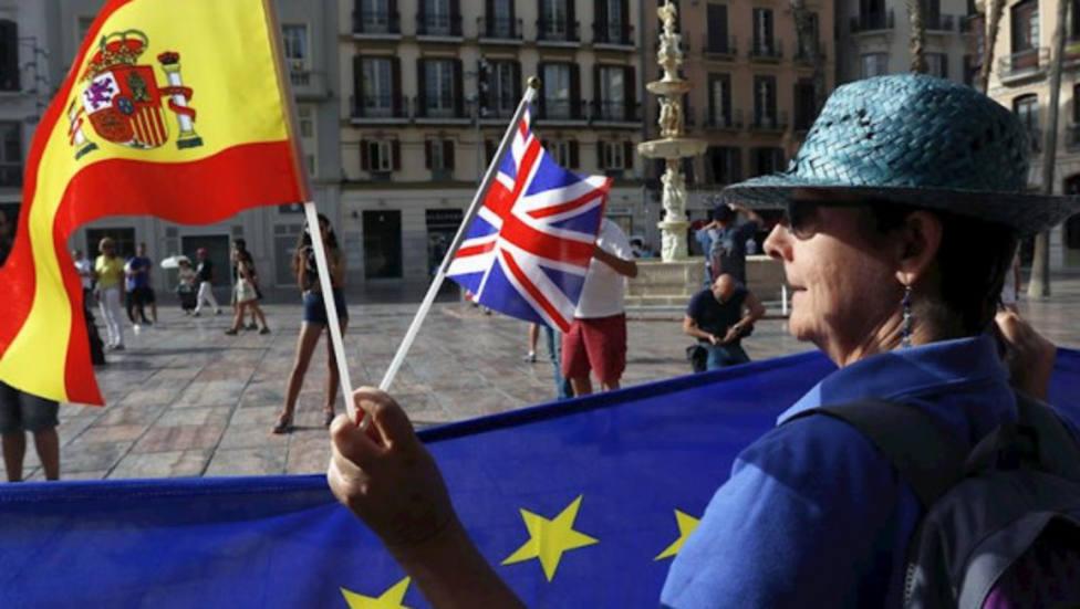 Una manifestante se concentra en contra del Brexit