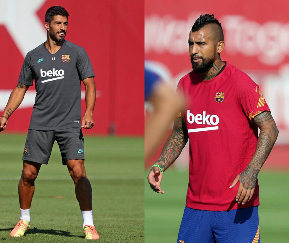 Luis Suárez y Arturo Vidal, en la rampa de salida del Barcelona