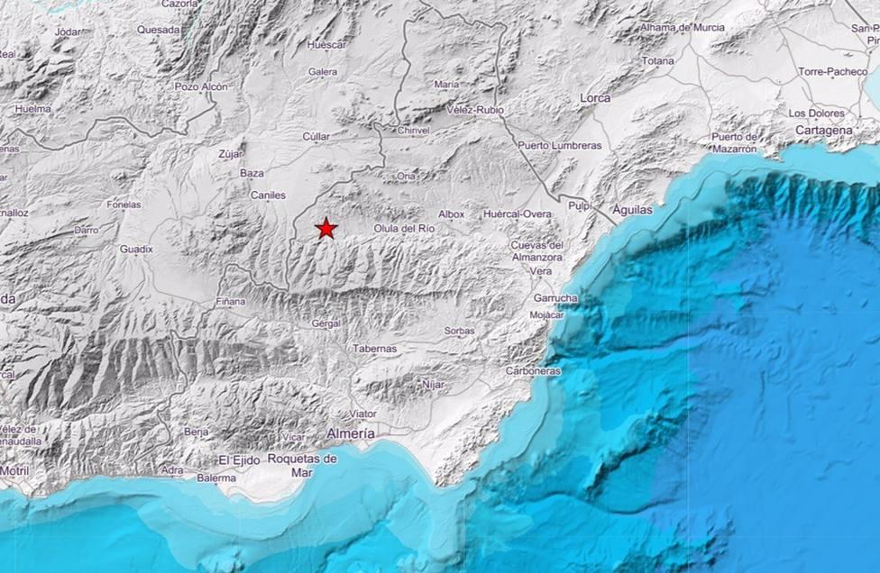 Registrado un seísmo de magnitud 2,5 con epicentro en Serón sentido en otras dos localidades
