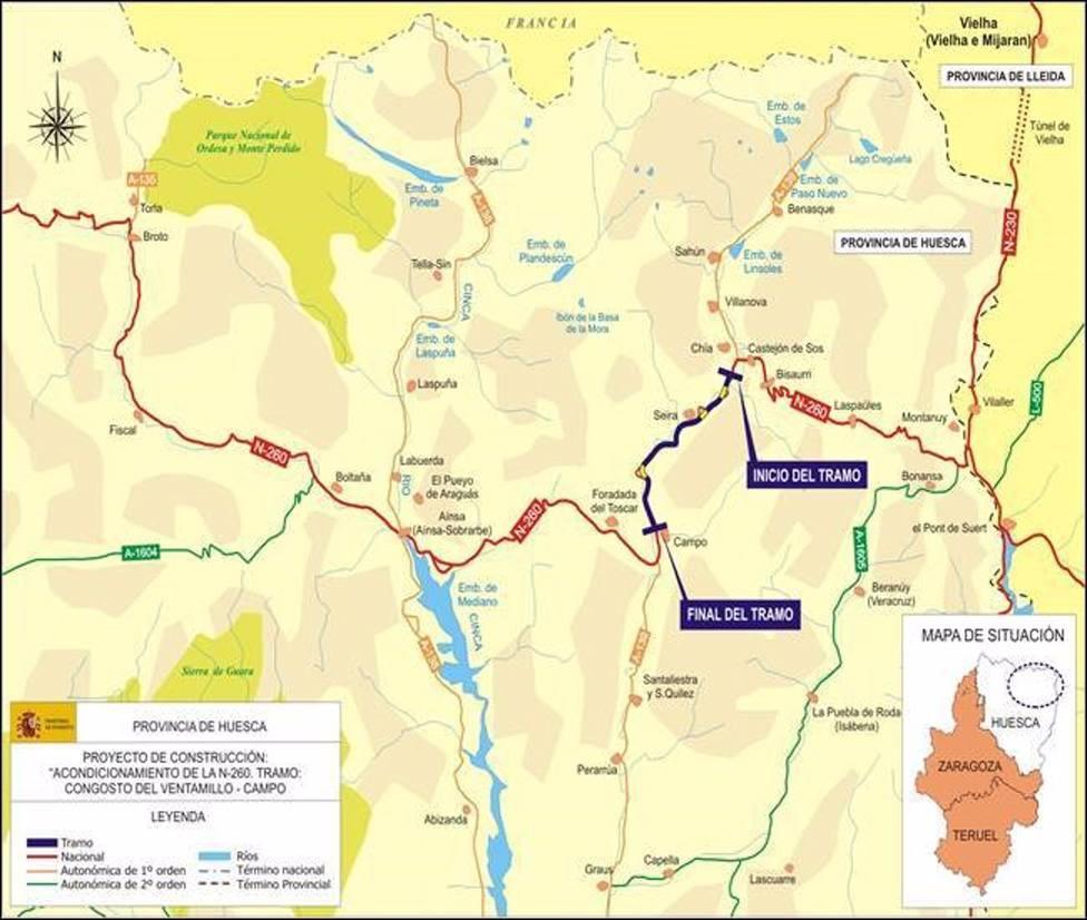 Fomento inicia las obras de acondicionamiento de la carretera N-260 entre Congosto del Ventamillo y Campo (Huesca)