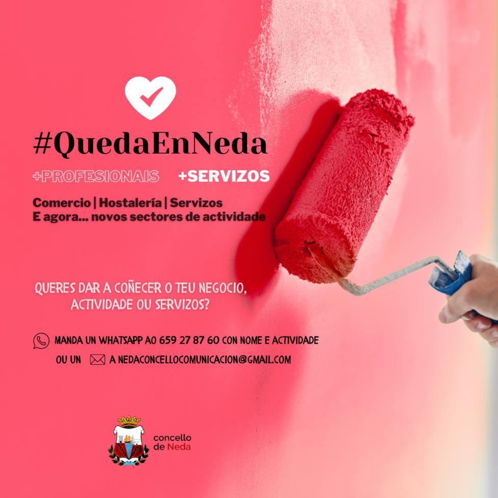 Cartel informativo de la campaña QuedaEnNeda