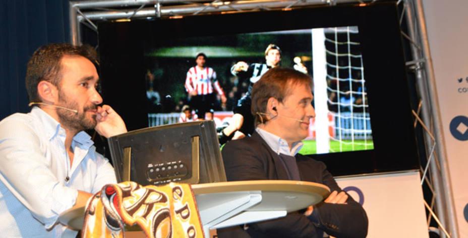 Julen Lopetegui, junto a Juanma Castaño en El Partidazo, en Logroño