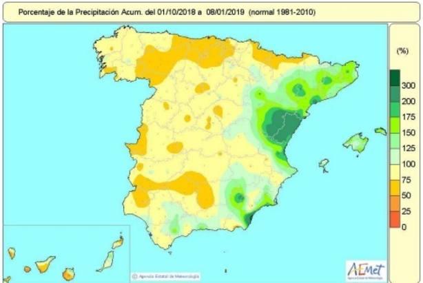 España entra en 2019 con un déficit de lluvias acumuladas desde octubre del 9 por ciento