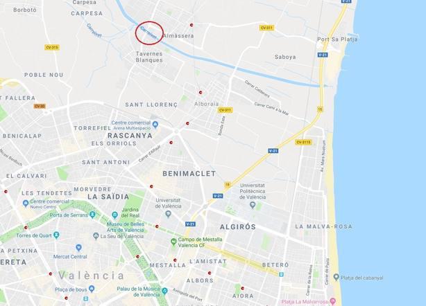 Investigan el hallazgo de un cadáver en el barranco del Carraixet (Valencia)