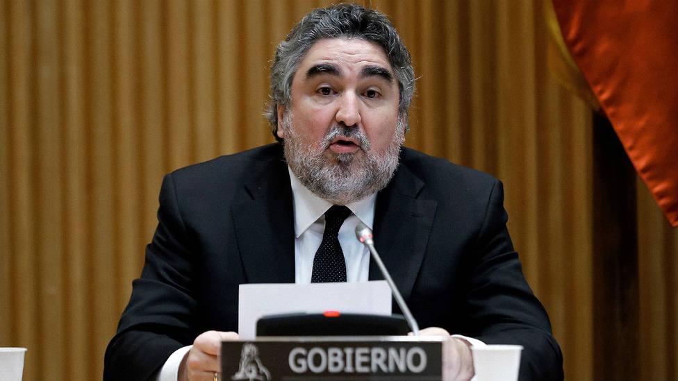 José Manuel Rodríguez Uribes durante su comparencia en la Comisión de Cultura en el Congreso