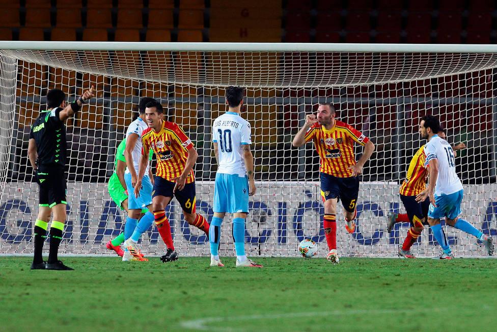 El Lecce celebra uno de los goles a la Lazio (Cordon Press)