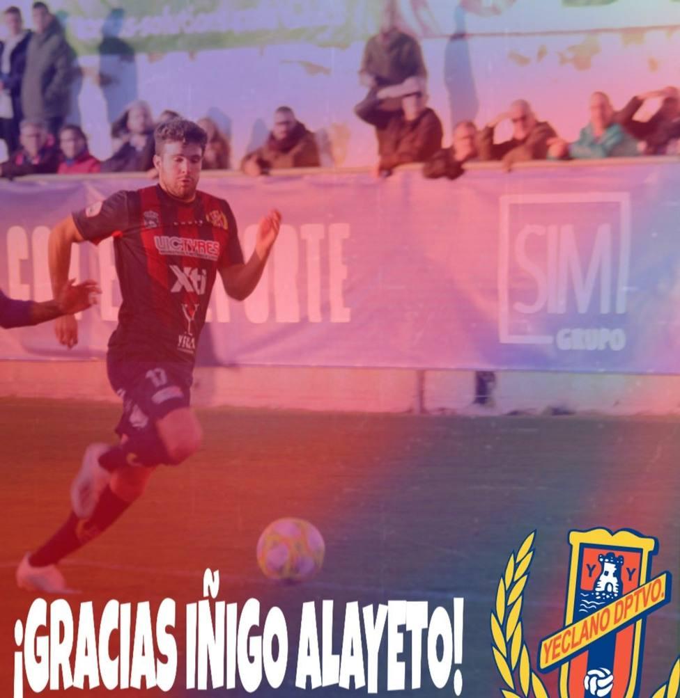 Iñigo Alayeto tampoco seguirá en el Yeclano Deportivo