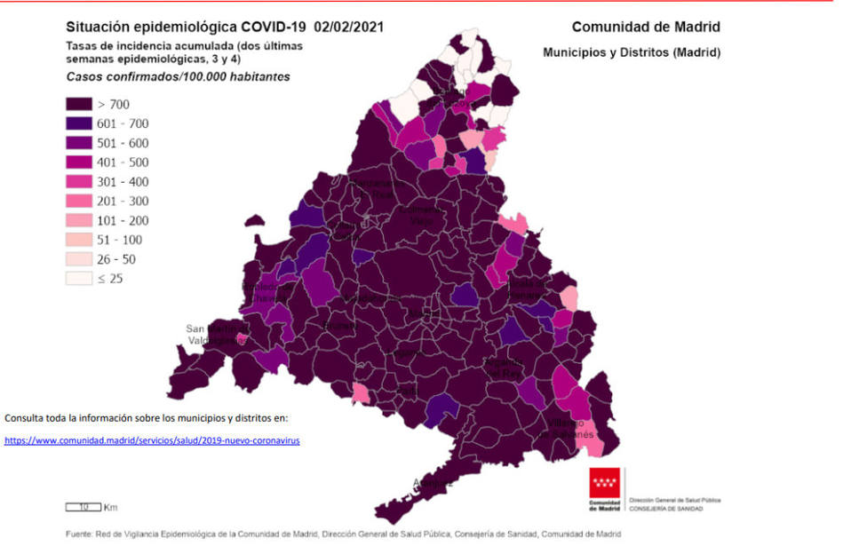 Mapa epidemia en Madrid 2 de febrero 2021