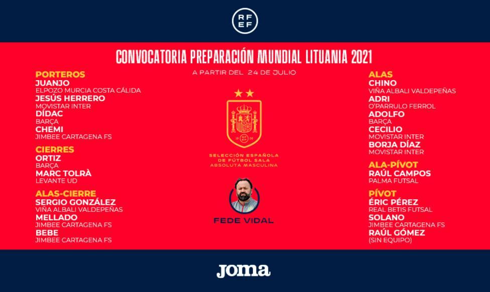 Convocatoria oficial de la selección española de fútbol sala.