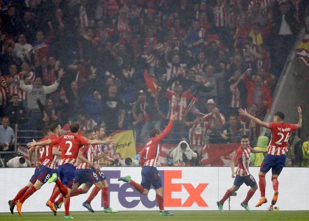 El Atlético de Madrid celebra el 0-2 (EFE)