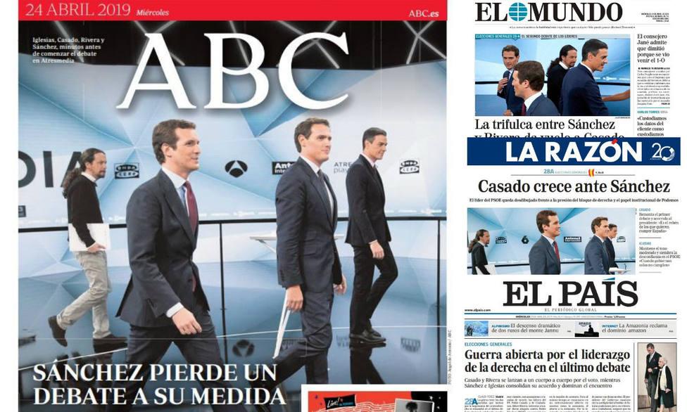El desastroso papel de Sánchez en el debate de Atresmedia, portada en la prensa
