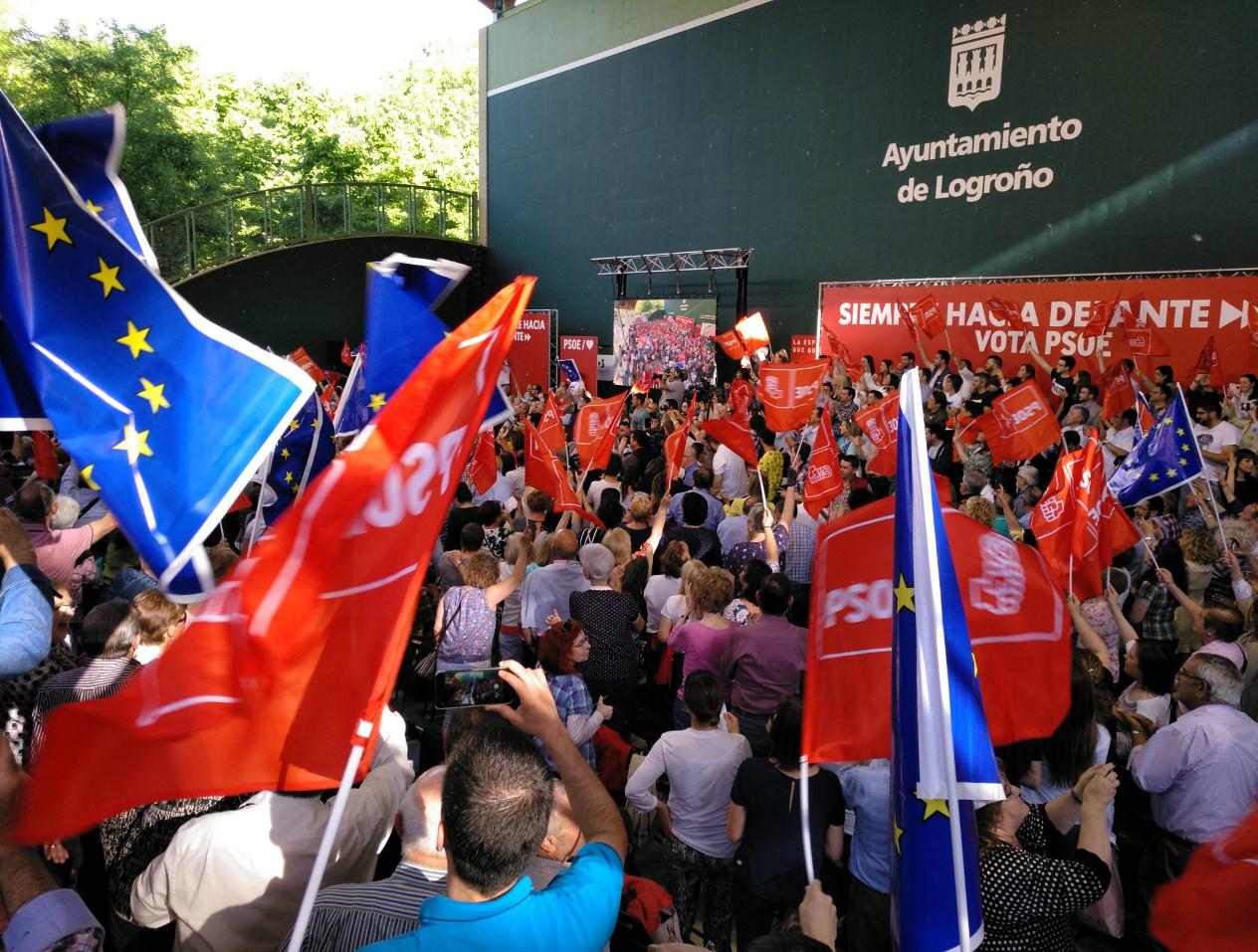 La llamada pared de izquierdas, el acto del PSOE de La Rioja en el frontón del Revellín