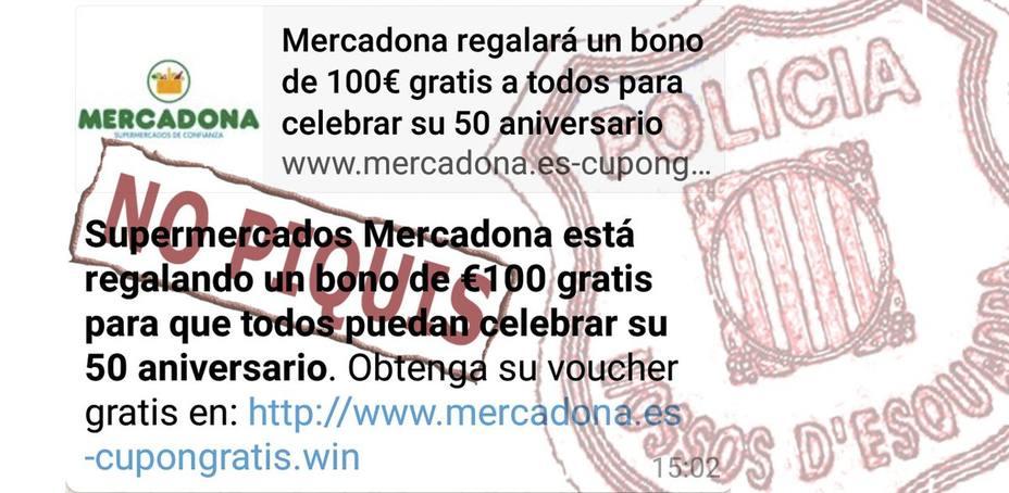Mercadona NO te regala un bono de 100 euros, avisa la Guardia Civil