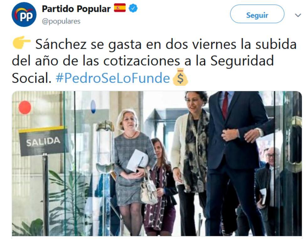 El PP lanza la campaña #PedroSeLoFunde para denunciar el derroche del Consejo de Ministros