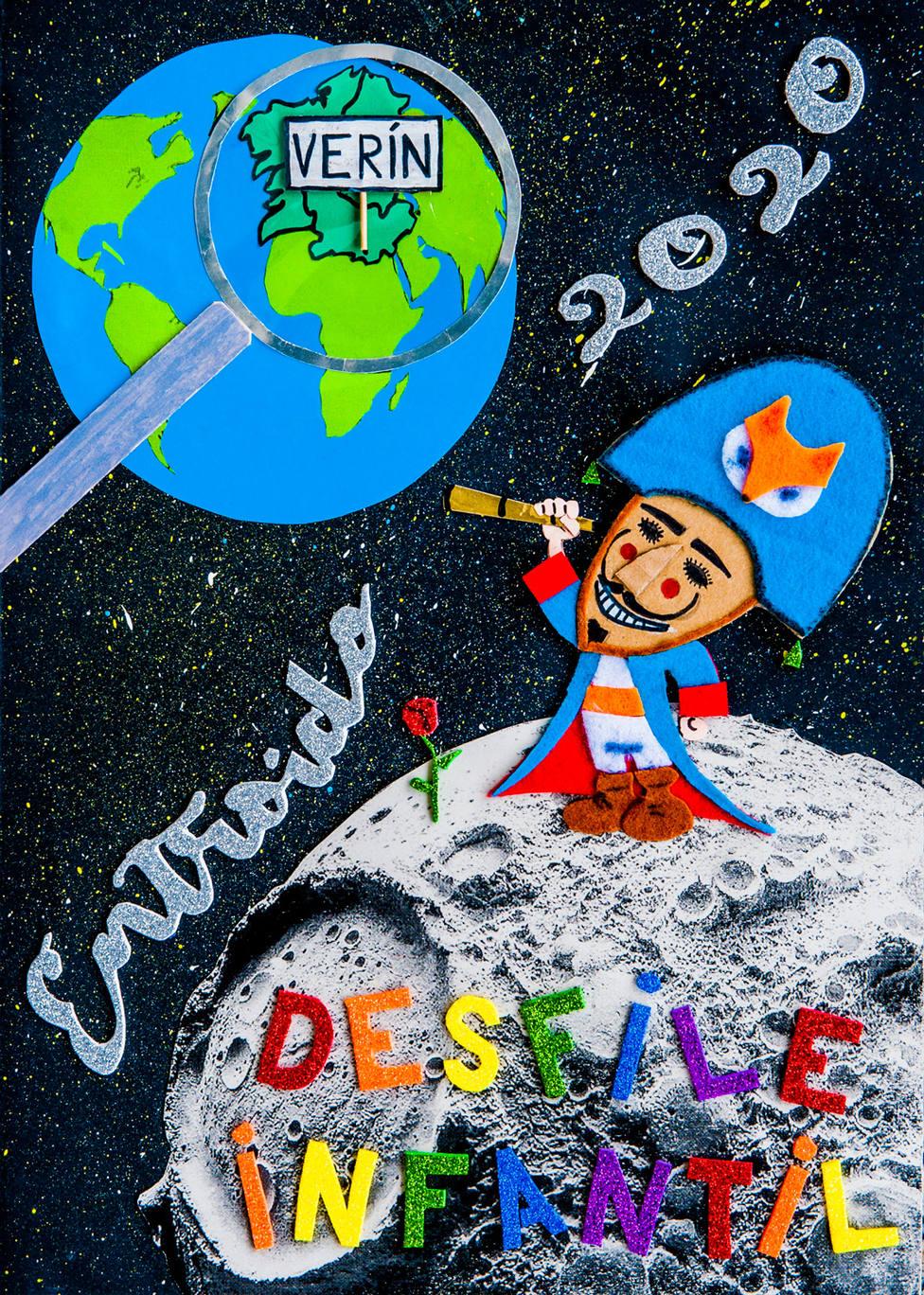 Cartel anunciador del desfile infantil de Verín, realizado por el colegio de A Mezquita
