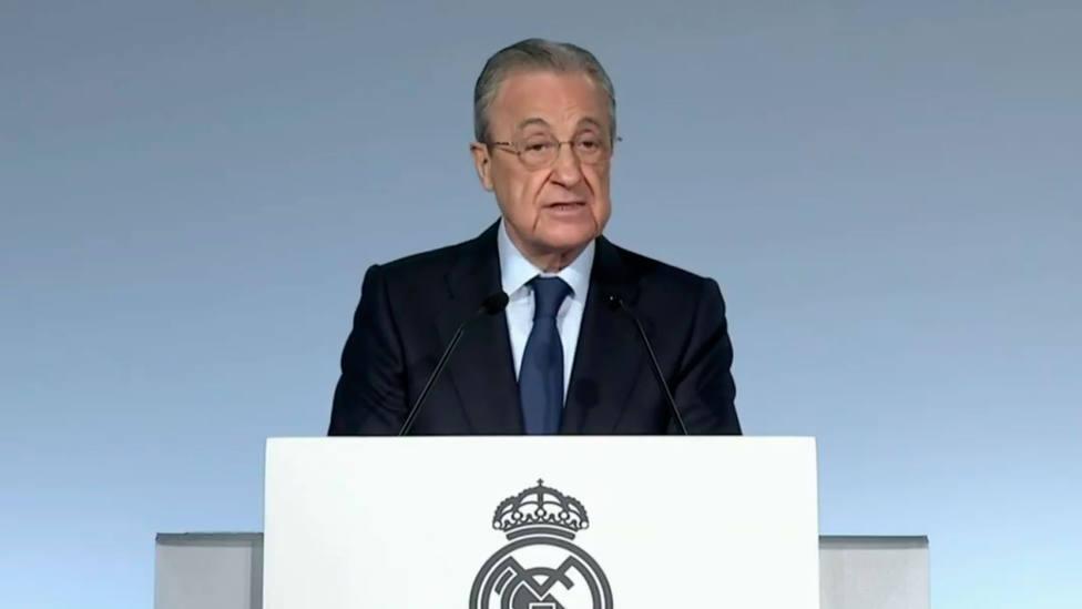 Florentino Pérez, en la Asamblea de Socios del Real Madrid, en 2020