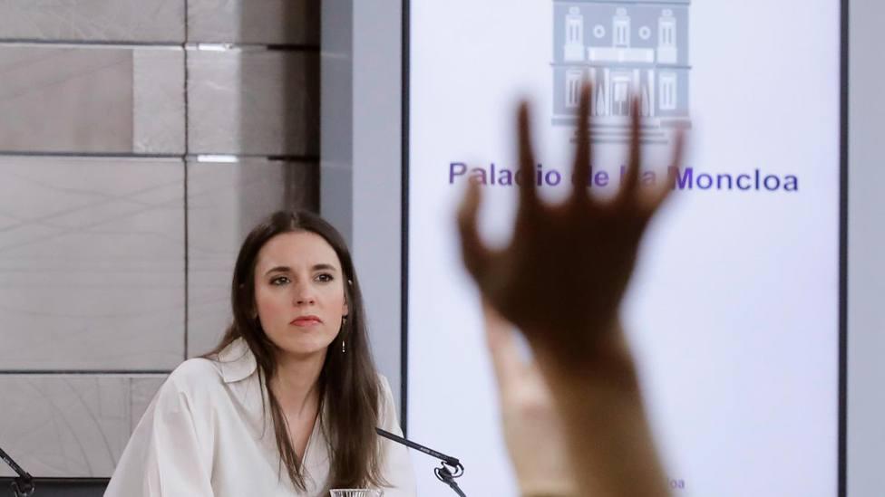 La ministra de Igualdad, Irene Montero, en una rueda de prensa