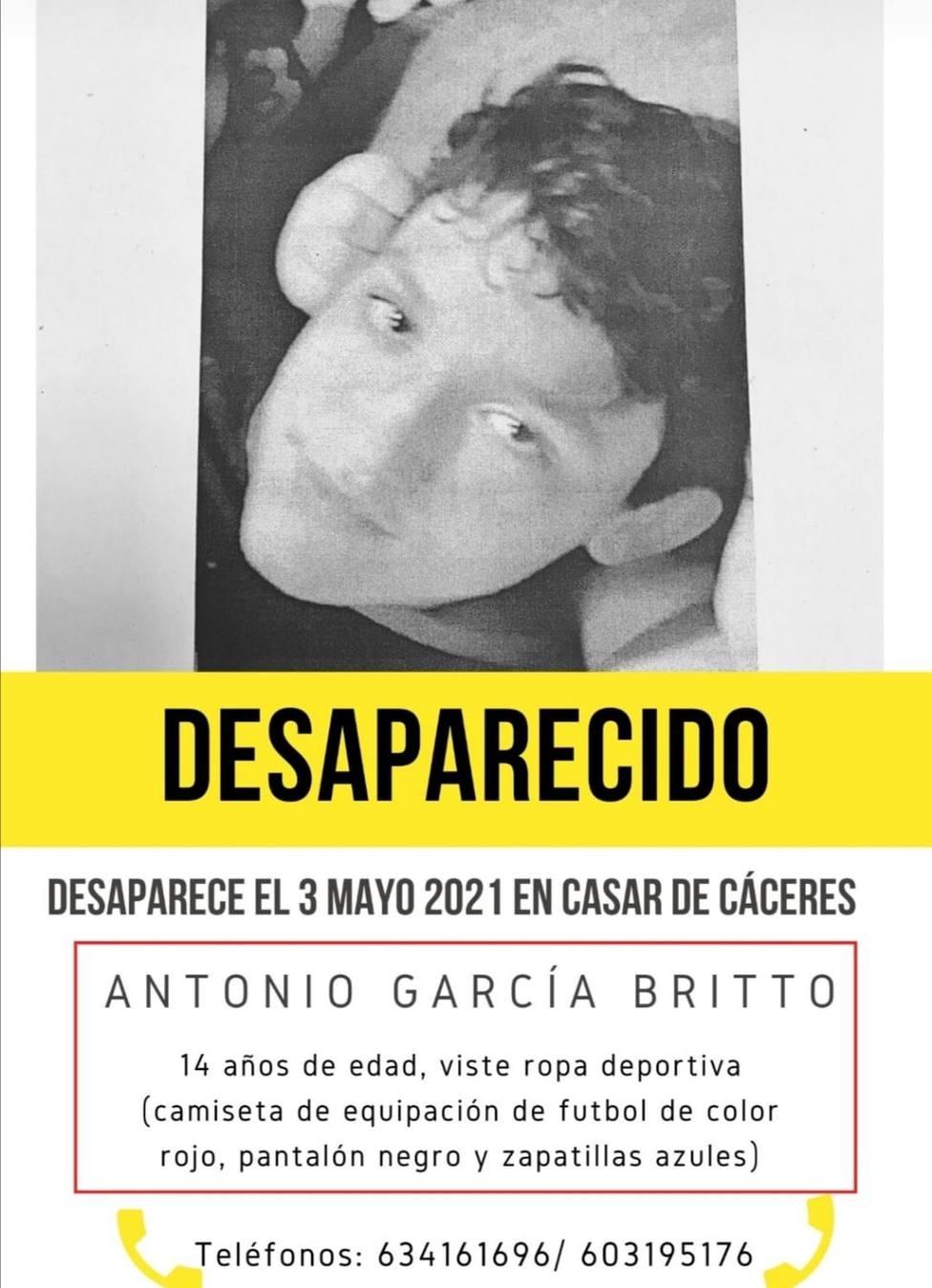 Menor desaparecido en Casar de Cáceres