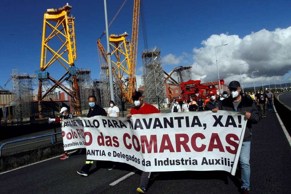 La cabeza de la manifestación a la altura de Navantia Fene - FOTO: EFE / Kiko Delgado