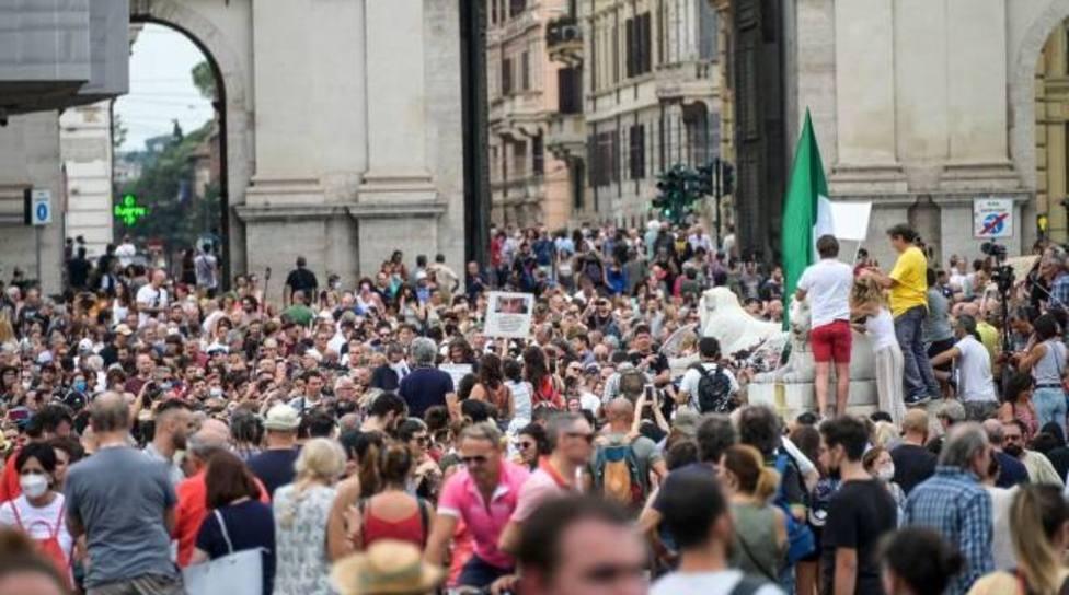 Protestas en Roma contra el certificado sanitario