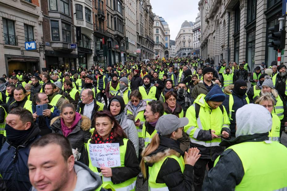 El colectivo de los chalecos amarillos protesta en Bruselas