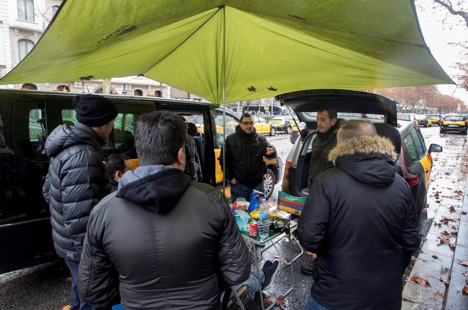 Protestas de taxistas contra VTC en Barcelona