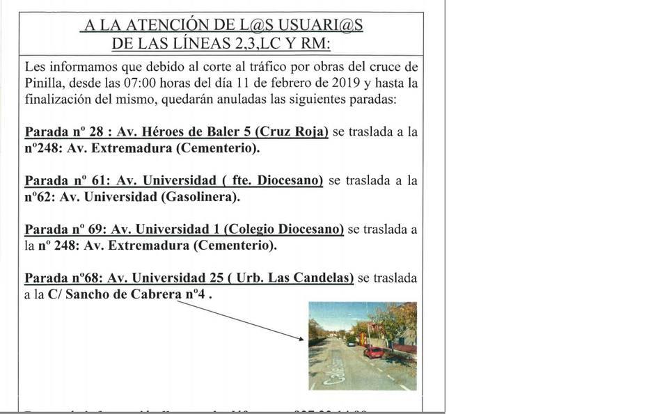 Paradas que experimentarán cambios por las obras en la rotonda de Pinilla