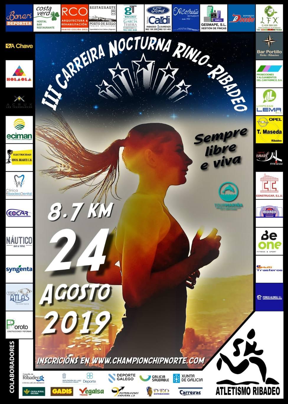Cartel de la III Carrera Nocturna Rinlo-Ribadeo