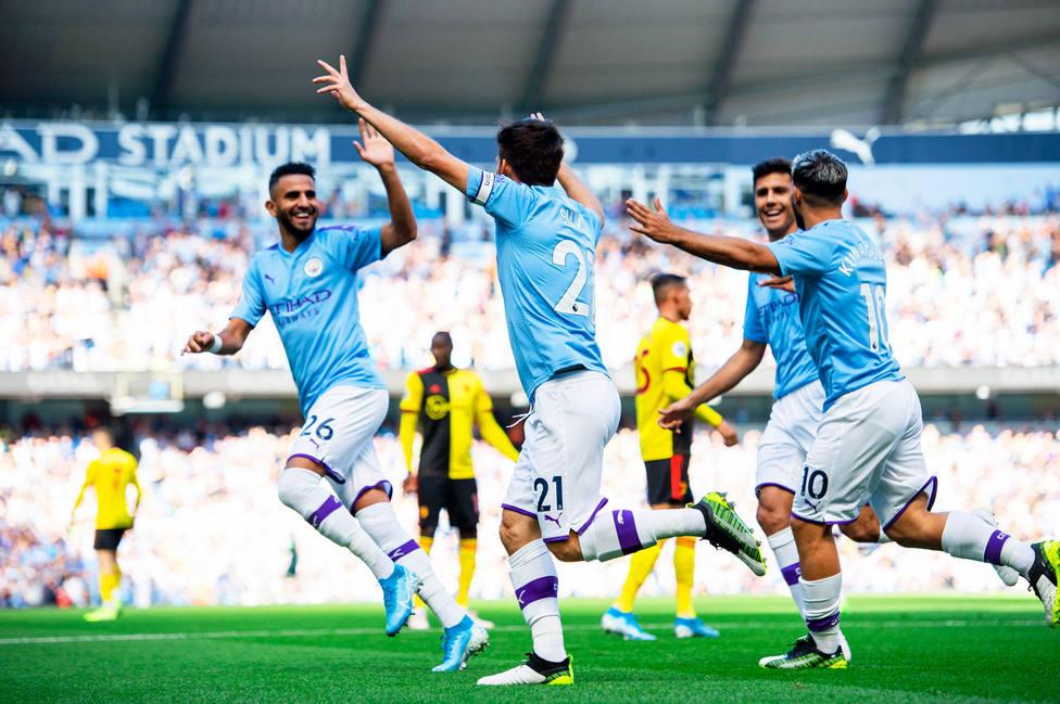 El City celebra uno de los goles al Watford (EFE)