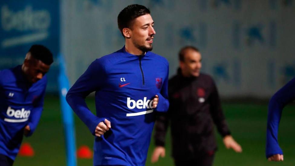 Lenglet, durante el entrenamiento con el Barça (FOTO: FC Barcelona)