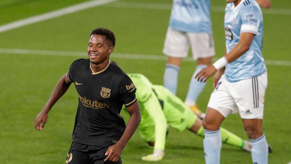 Ansu Fati celebra el gol marcado al Celta en Balaídos en la 4ª jornada de LaLiga Santander. CORDONPRESS