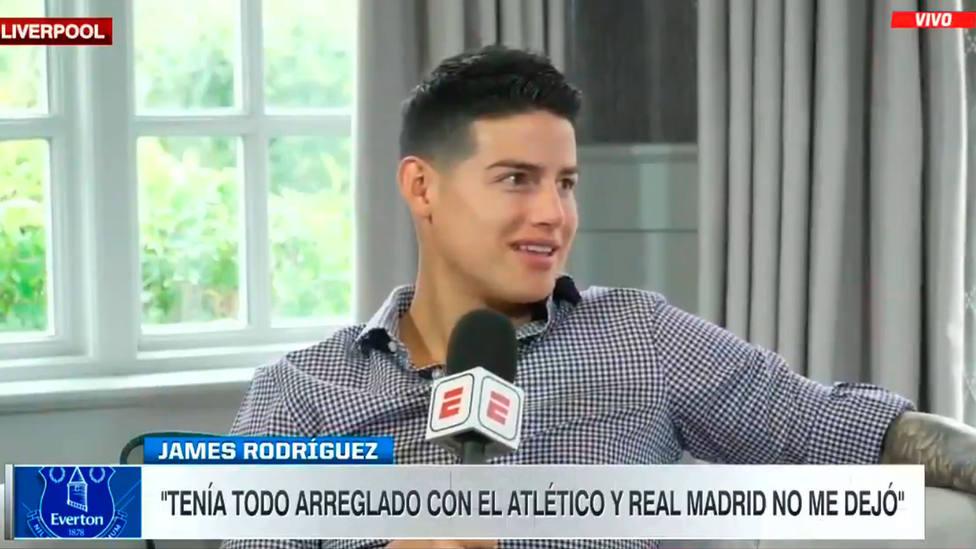 James Rodríguez, durante su entrevista en la ESPN