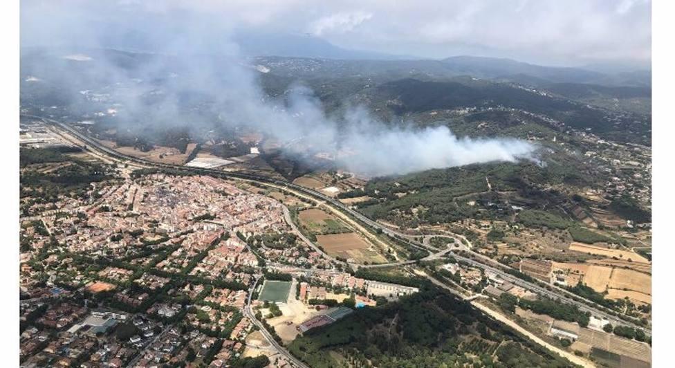 Un incendio en Argentona (Barcelona)