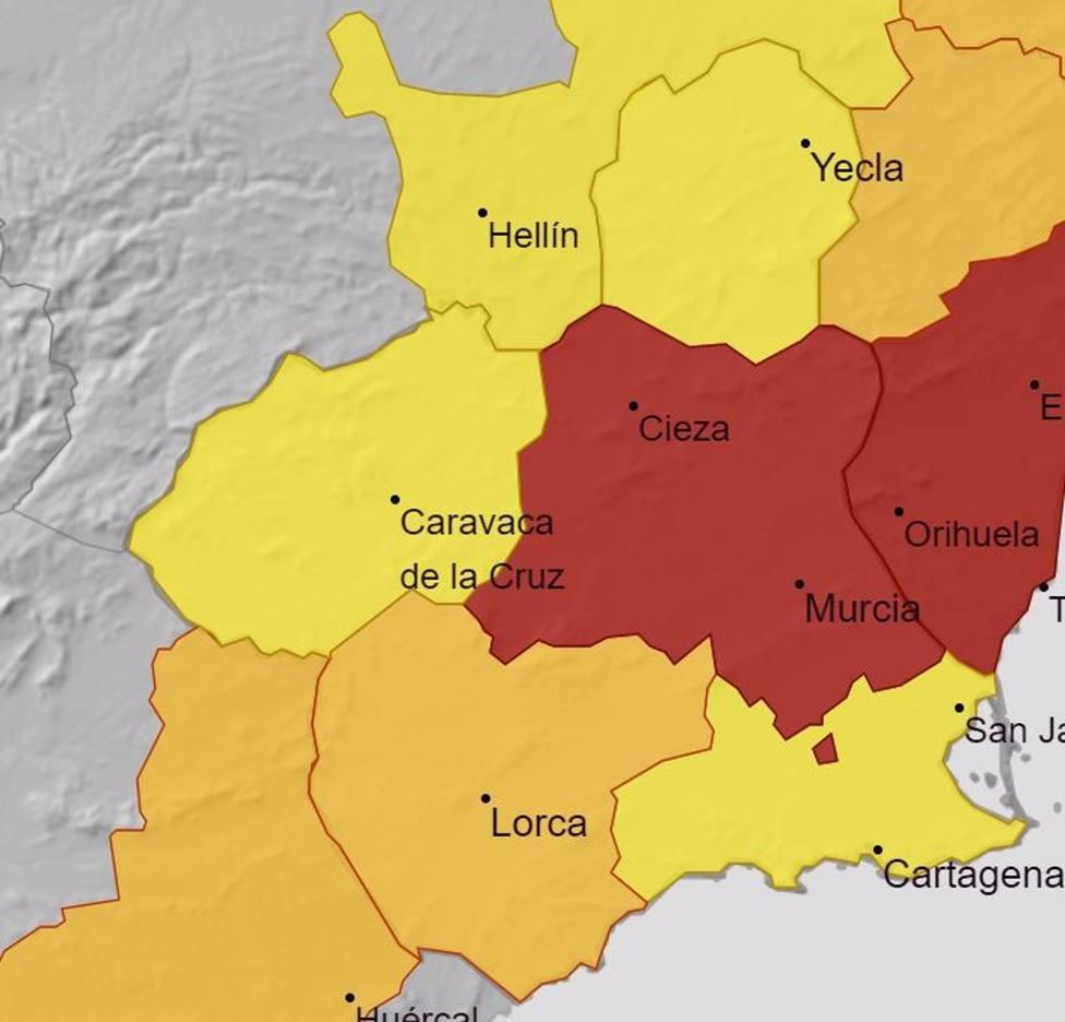 La Aemet amplia los avisos rojo, naranja y amarillos para este lunes por las altas temperaturas