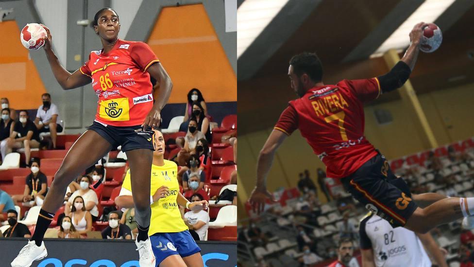 Shandy Barbosa y Valero Rivera con la selección española de balonmano.