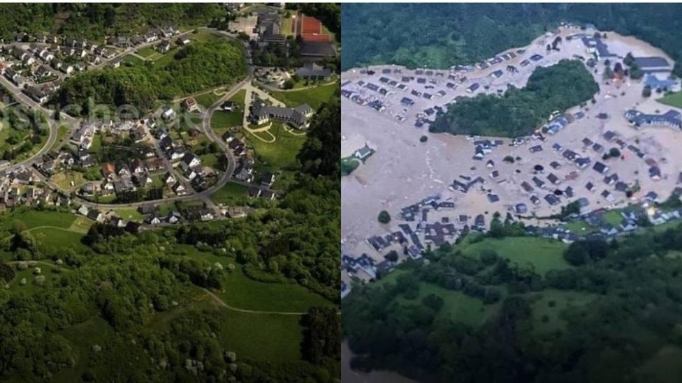 El antes y el después de las inundaciones catastróficas en Alemania