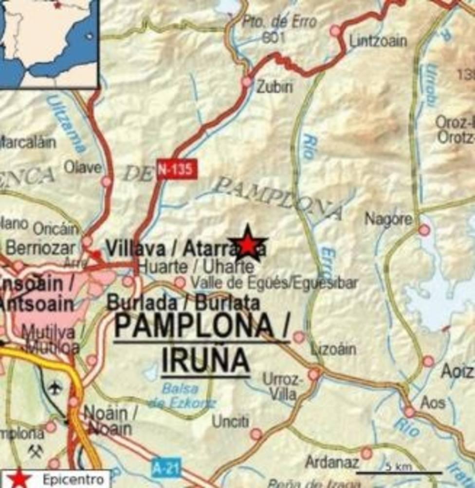 Un temblor sísmico de 3,9 grados se siente en Pamplona y su comarca