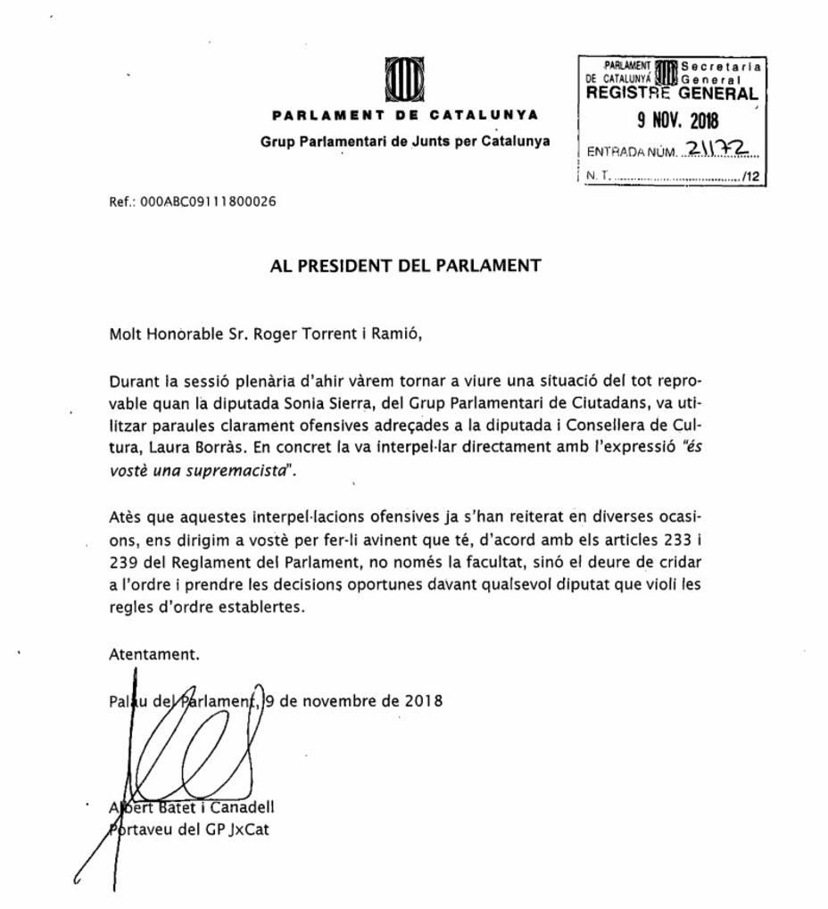 JxCat pide a Torrent medidas después de que Sierra (Cs) dijera supremacista a Borràs en el pleno