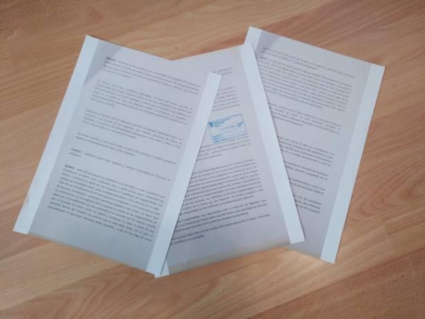 Documento presenteado en el Registro de Ferrol