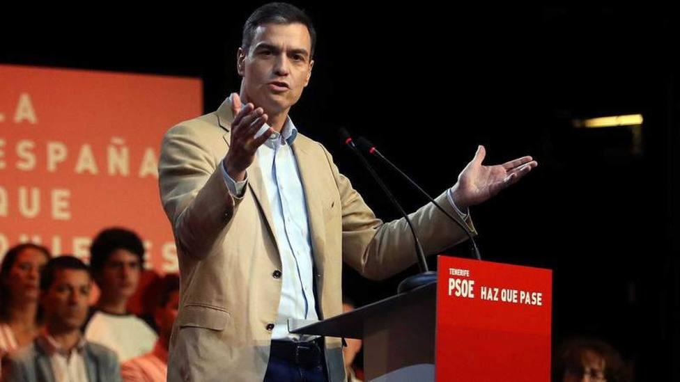 Pedro Sánchez durante un acto de partido duante la pasada campaña electoral. Foto: EFE
